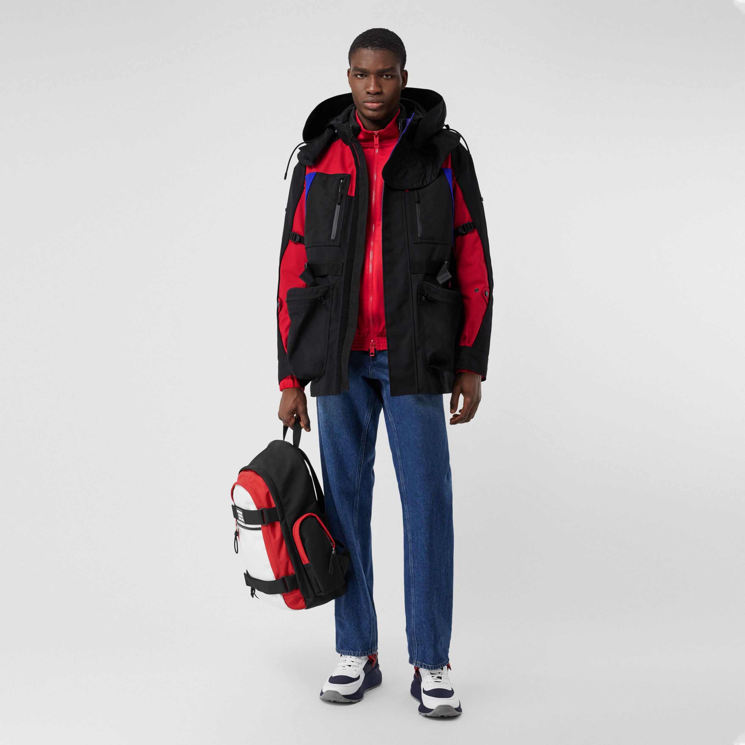 Colour Block Nylon Jacket with Detachable Puffer in Black - Men | Burberry - 1
