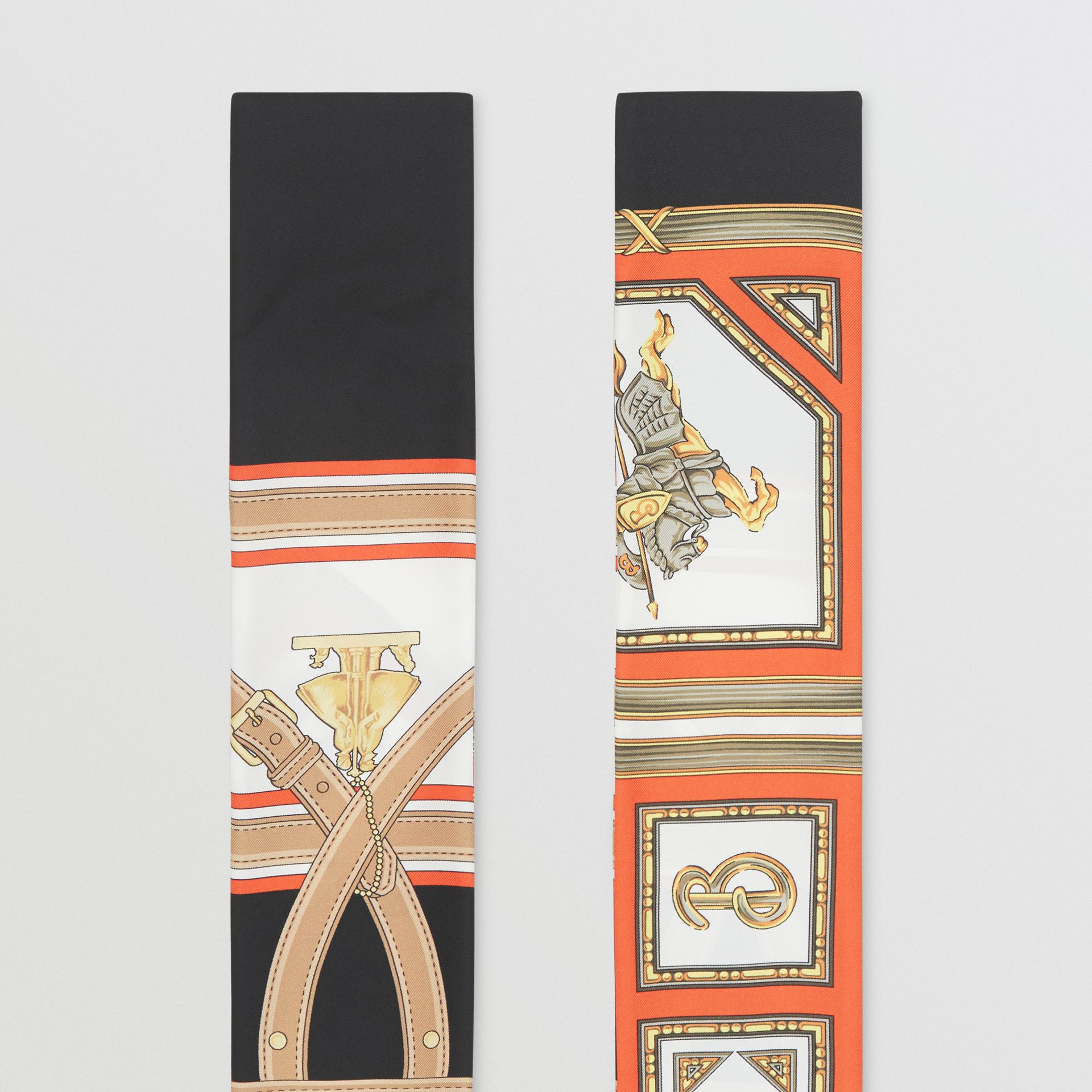 Archive Scarf Print Silk Skinny Scarf in Black | Burberry - gallery image 4