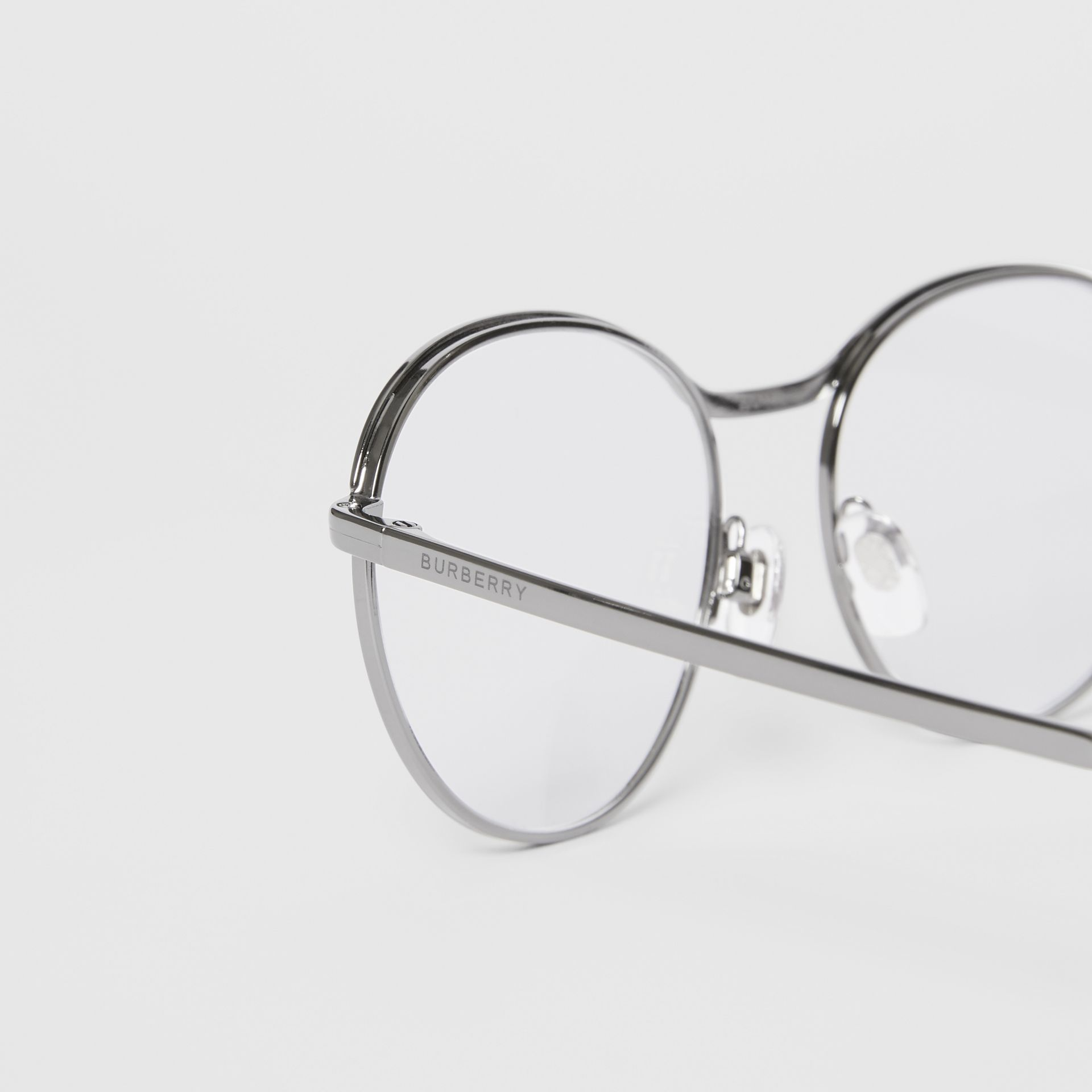 Round Optical Frames in Gunmetal Grey - Women | Burberry - gallery image 1