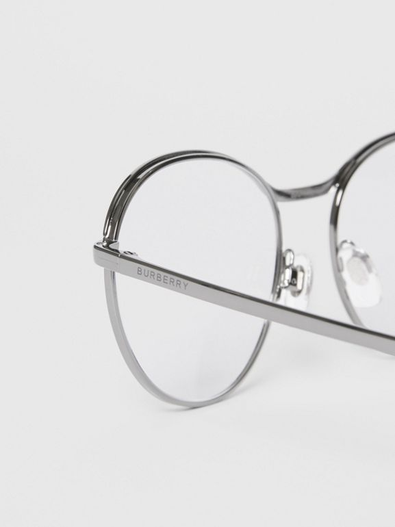 Round Optical Frames in Gunmetal Grey - Women | Burberry - cell image 1
