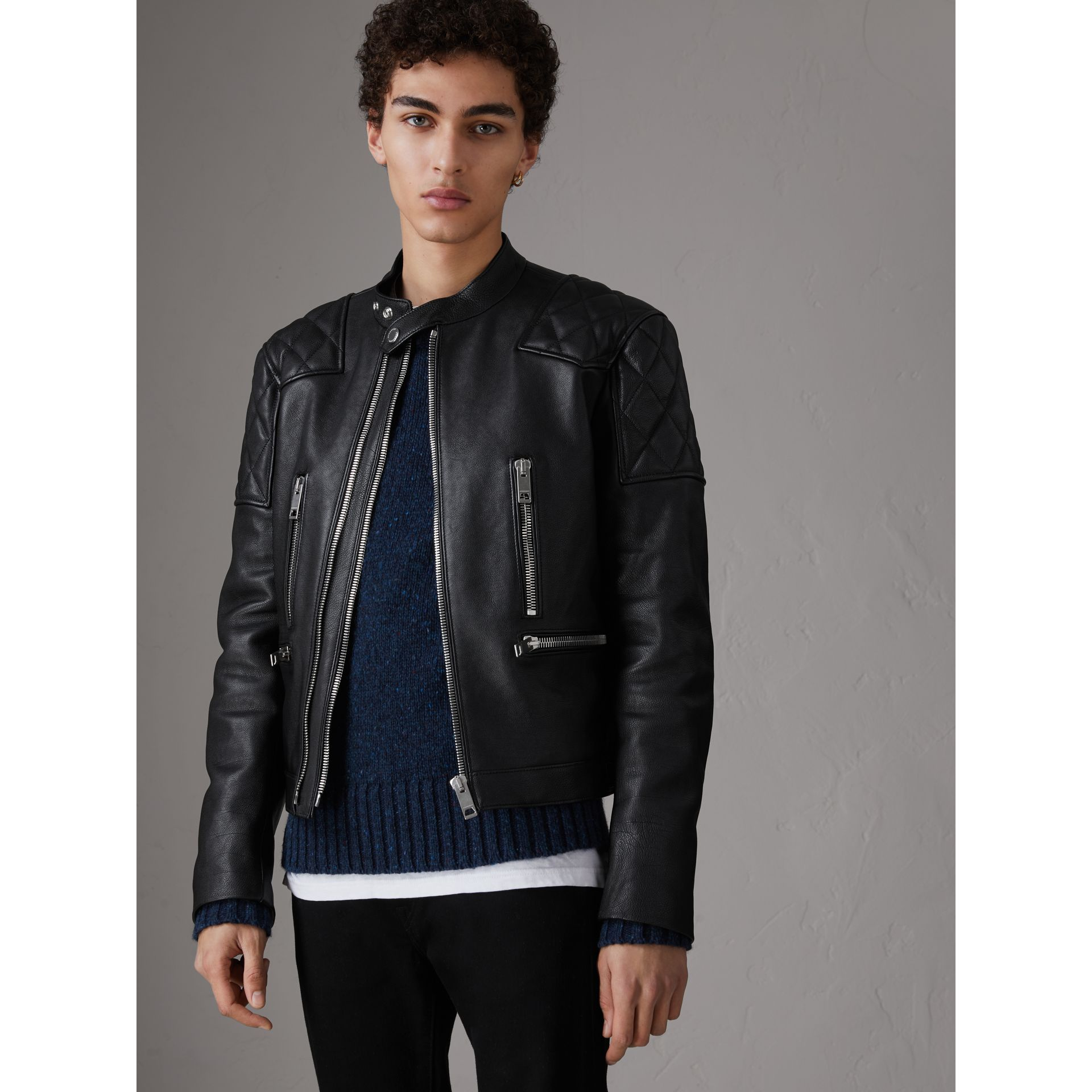 Diamond Quilted Detail Leather Biker Jacket in Black - Men | Burberry - gallery image 5