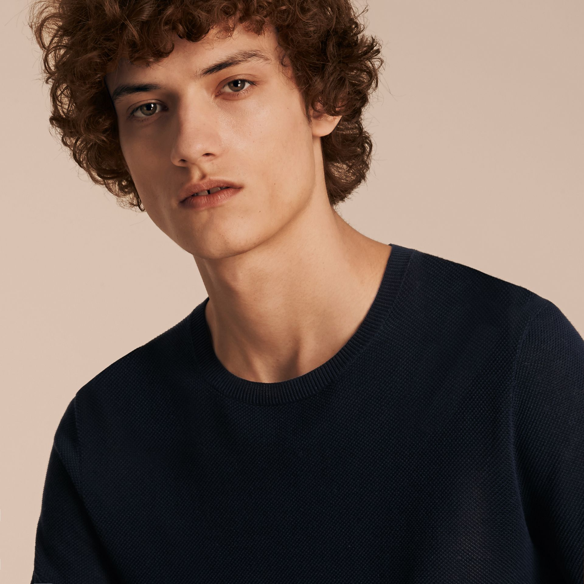 Crew Neck Textured Cotton Sweater - Men | Burberry Australia - gallery image 5