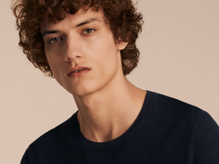 Crew Neck Textured Cotton Sweater in Navy - Men | Burberry - cell image 4