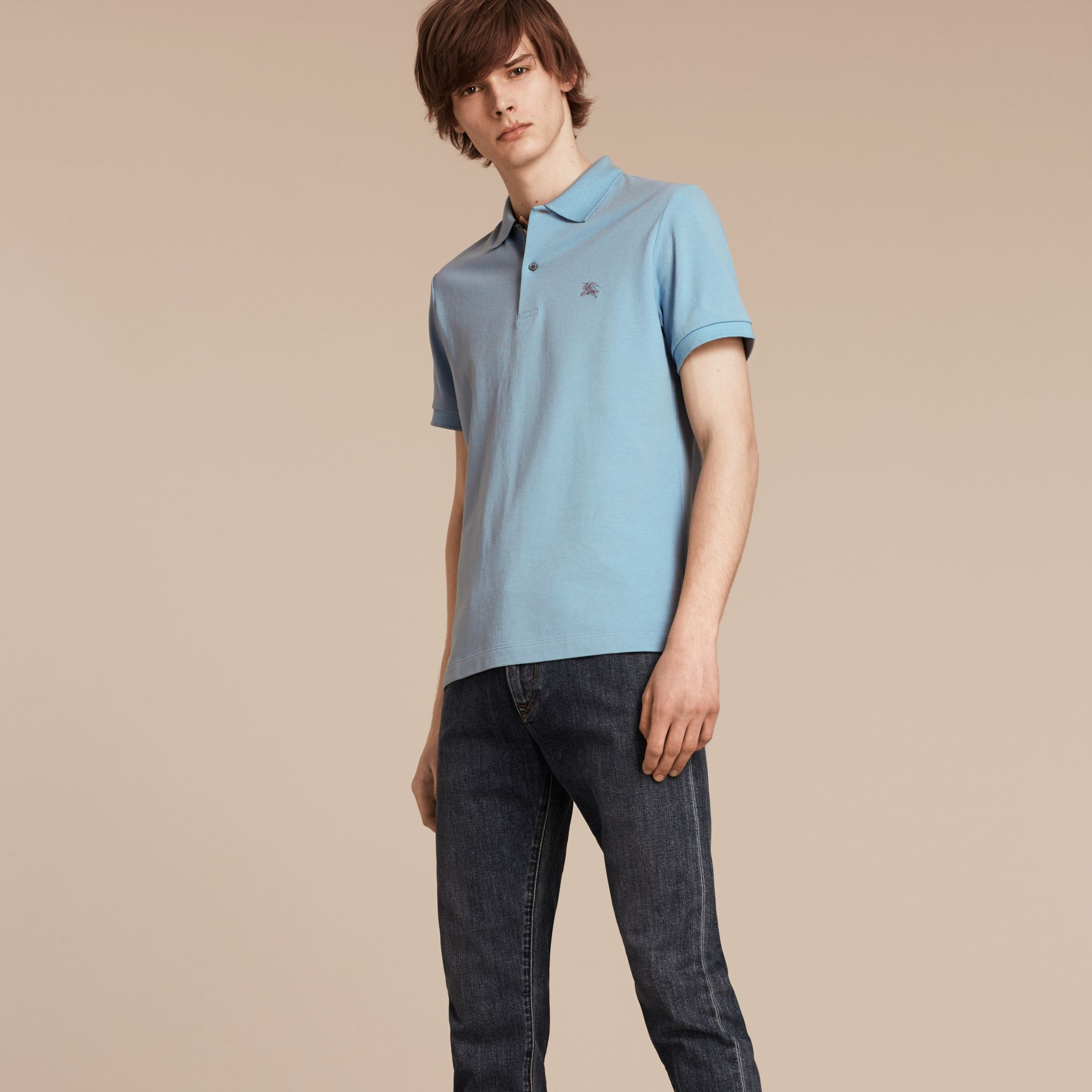 Check Placket Cotton Piqué Polo Shirt in Pale Blue - gallery image 1