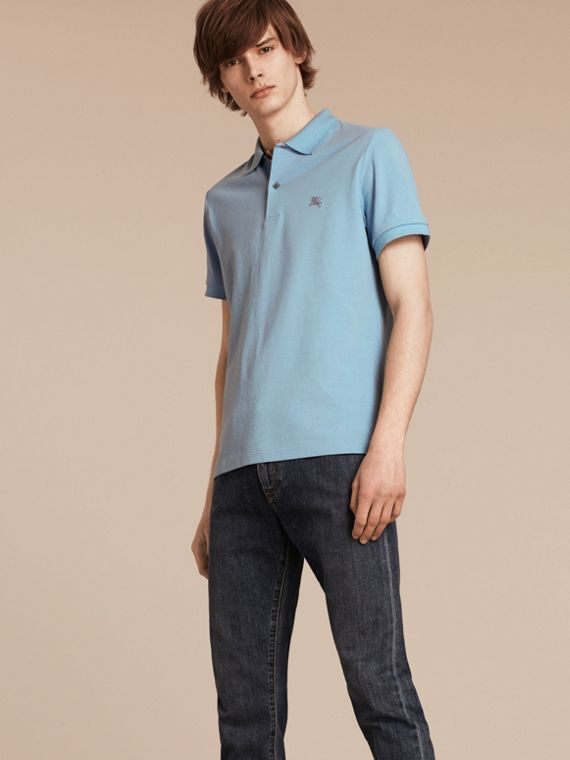 Check Placket Cotton Piqué Polo Shirt Pale Blue