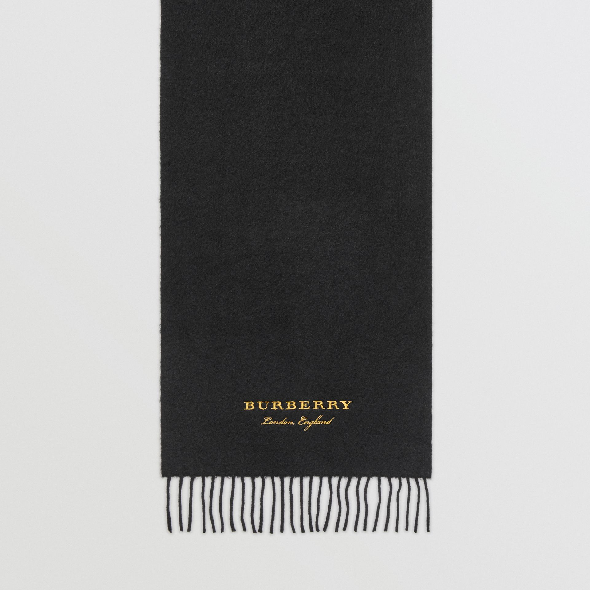 Embroidered Cashmere Fleece Scarf in Black | Burberry Australia - gallery image 4