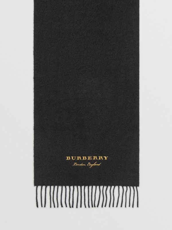 Embroidered Cashmere Fleece Scarf in Black | Burberry - cell image 3