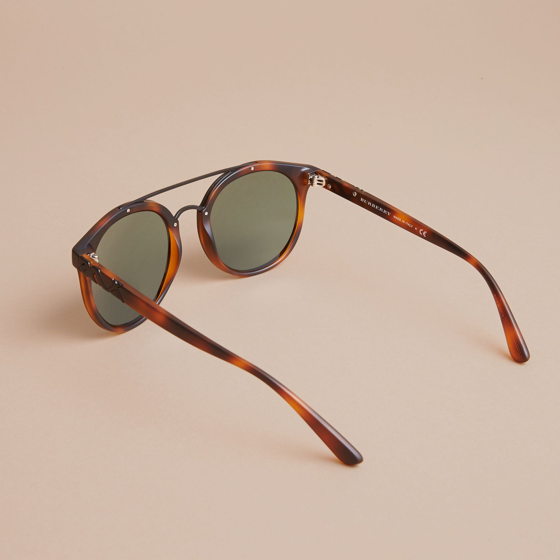 Top Bar Round Frame Sunglasses in Brown - Men | Burberry - gallery image 3