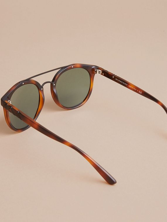 Top Bar Round Frame Sunglasses in Brown - Men | Burberry United States - cell image 3