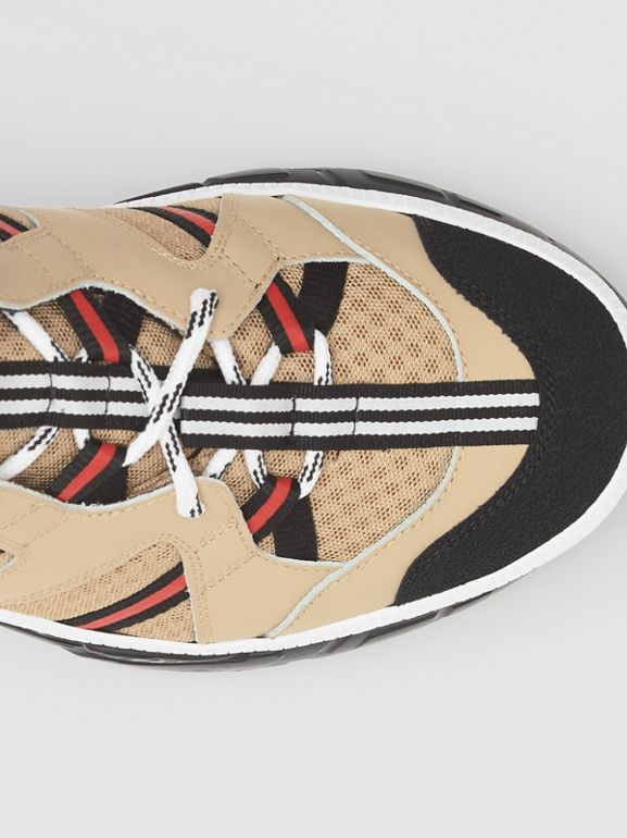Mesh and Leather Union Sneakers in Beige - Men | Burberry - cell image 1