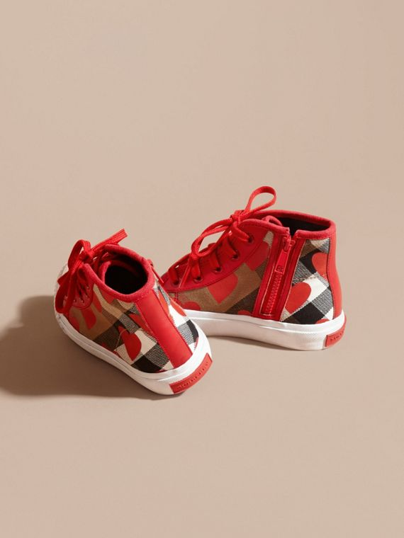 Military red Leather Trim Dot Print Check High-top Trainers Military Red - cell image 3