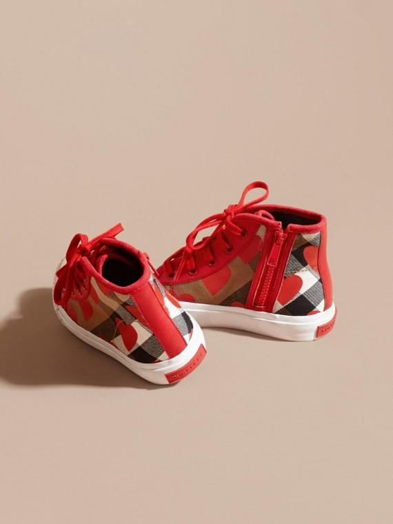 Rosso militare Sneaker alte con motivo check, stampa a pois e finiture in pelle Rosso Militare - cell image 3