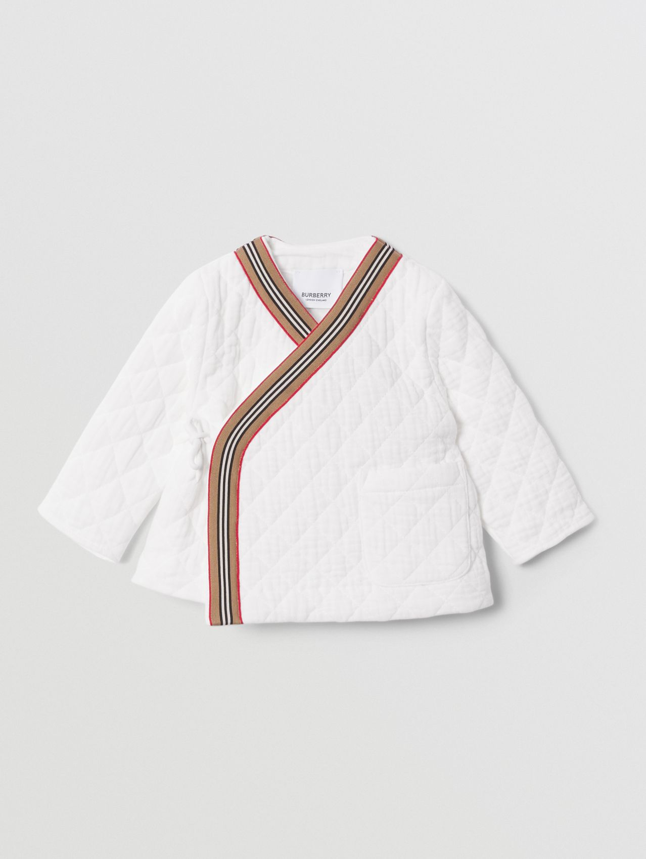 Icon Stripe Trim Quilted Cheesecloth Wrap Jacket in White