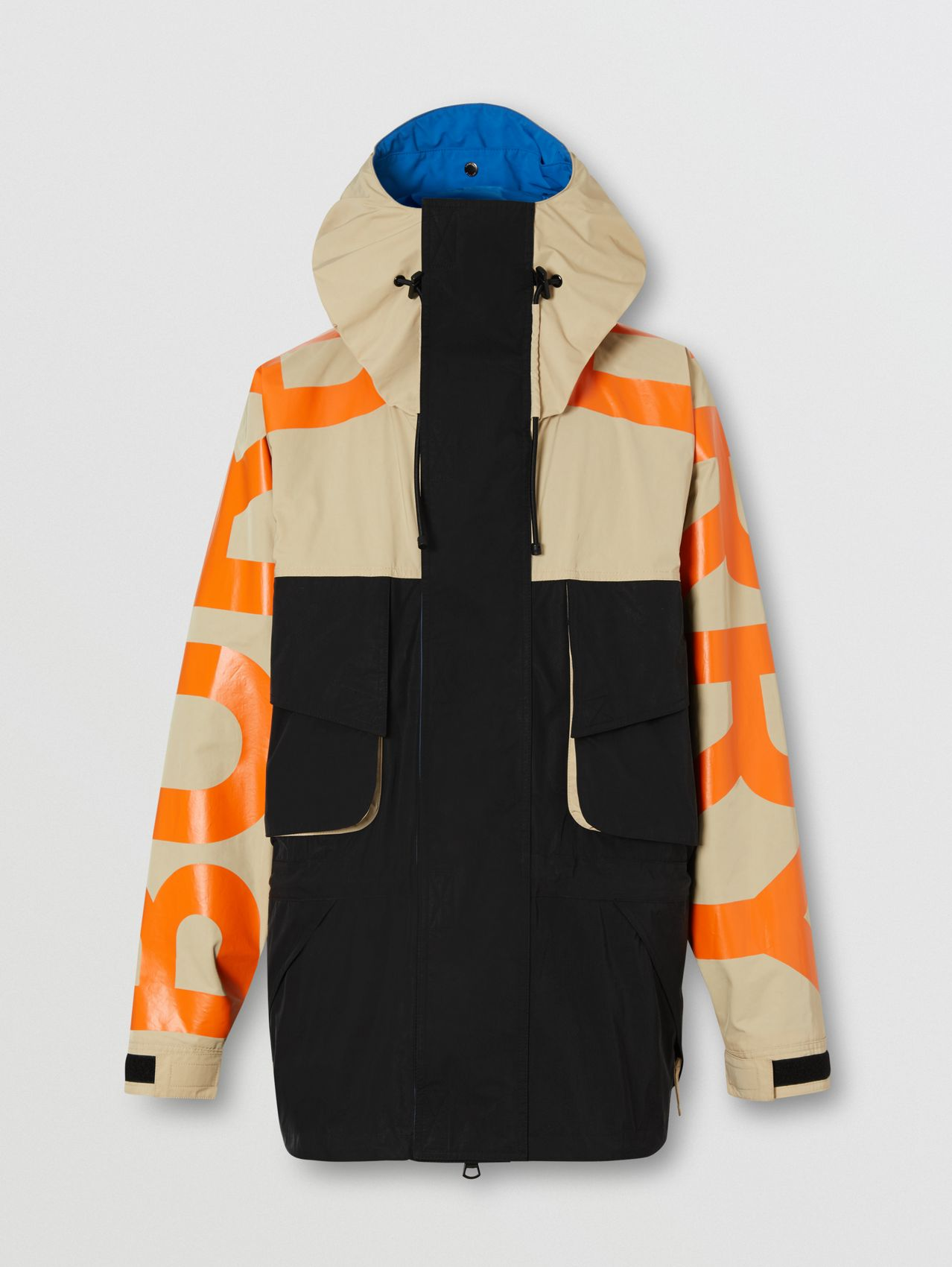Logo Print Colour Block Technical Twill Jacket (Black)