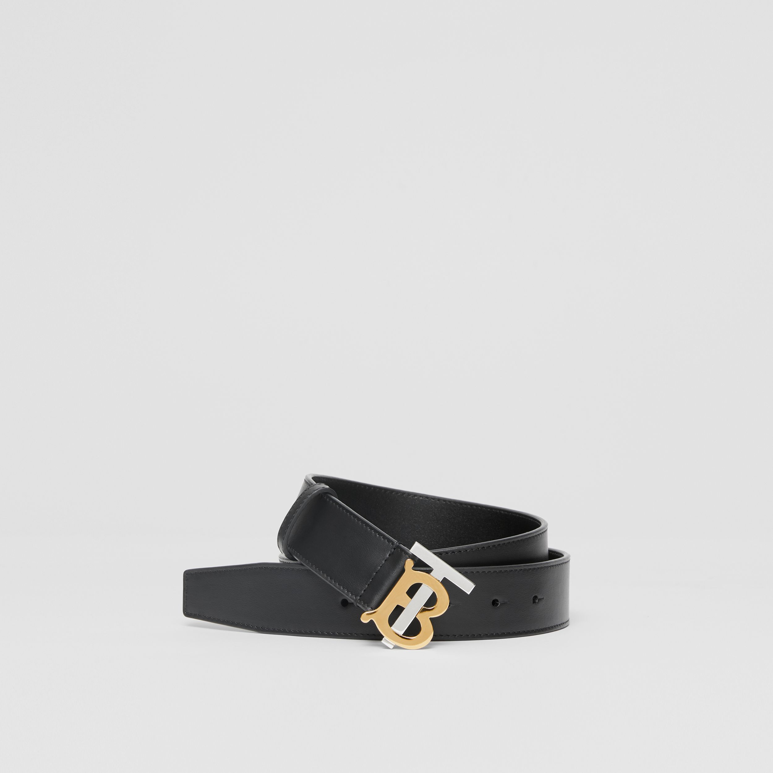 Two-tone Monogram Motif Leather Belt in Black - Men | Burberry Canada - 1
