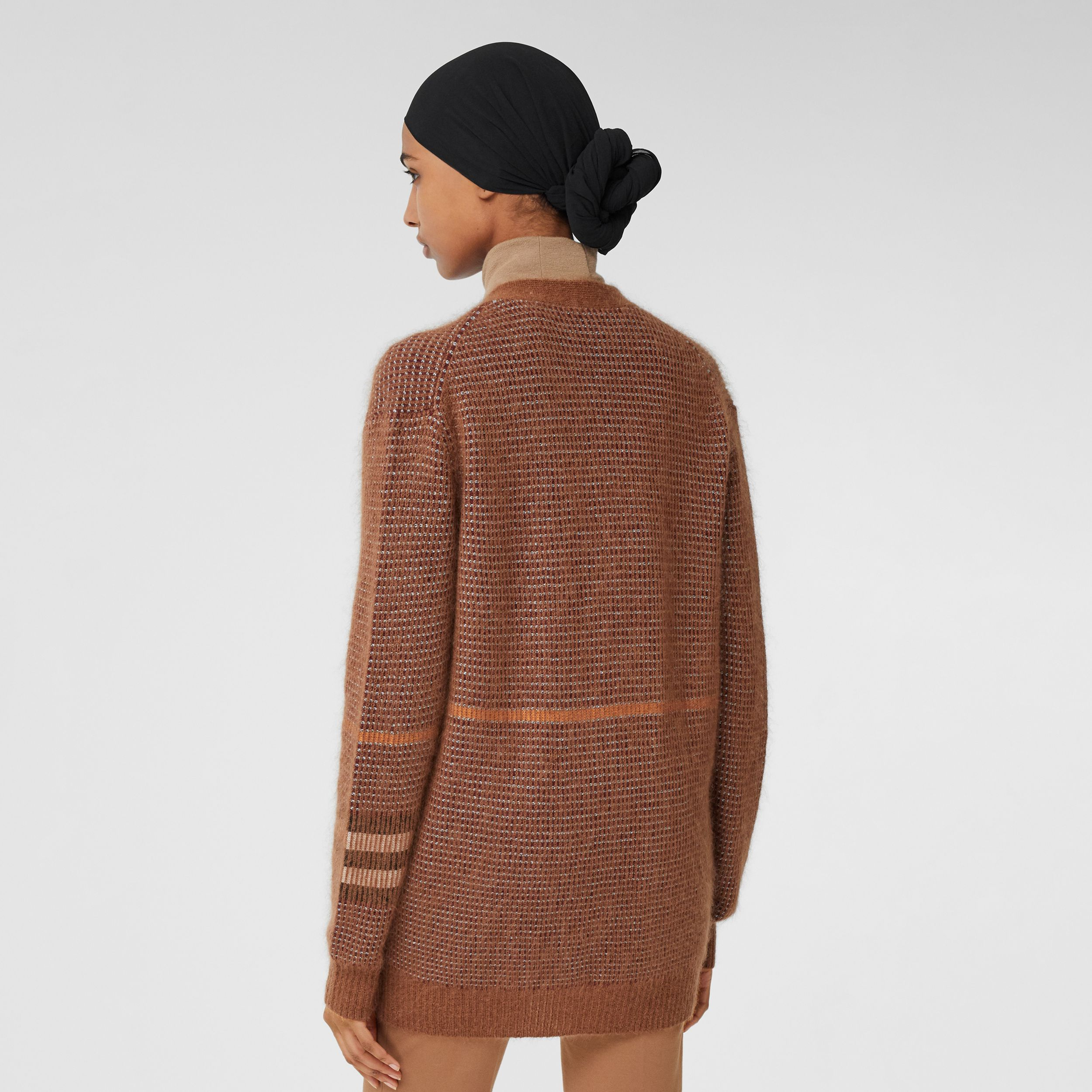 Check Wool Mohair Silk Blend Cardigan in Chestnut - Women | Burberry - 3