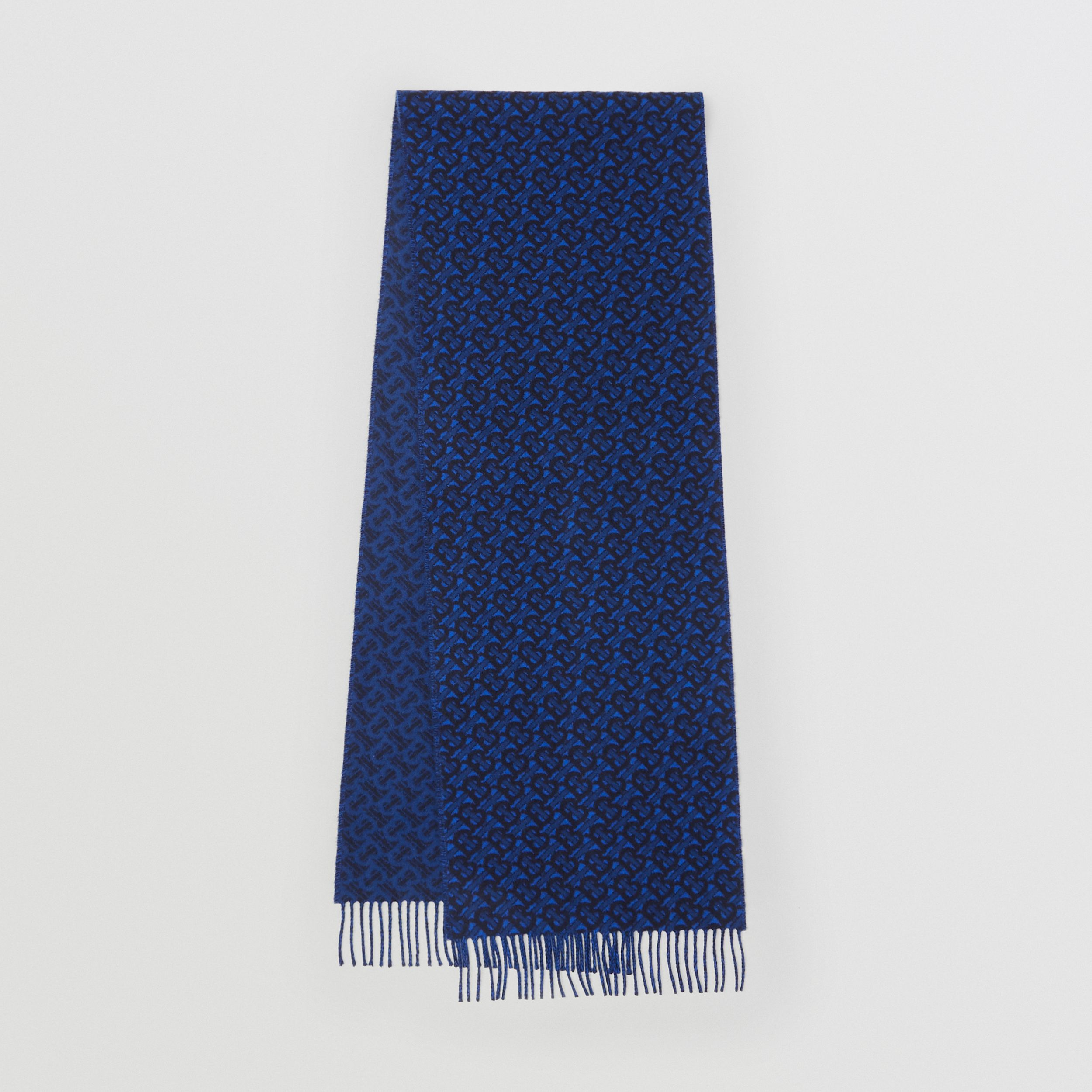 Monogram Cashmere Jacquard Scarf in Azure Blue | Burberry - 1