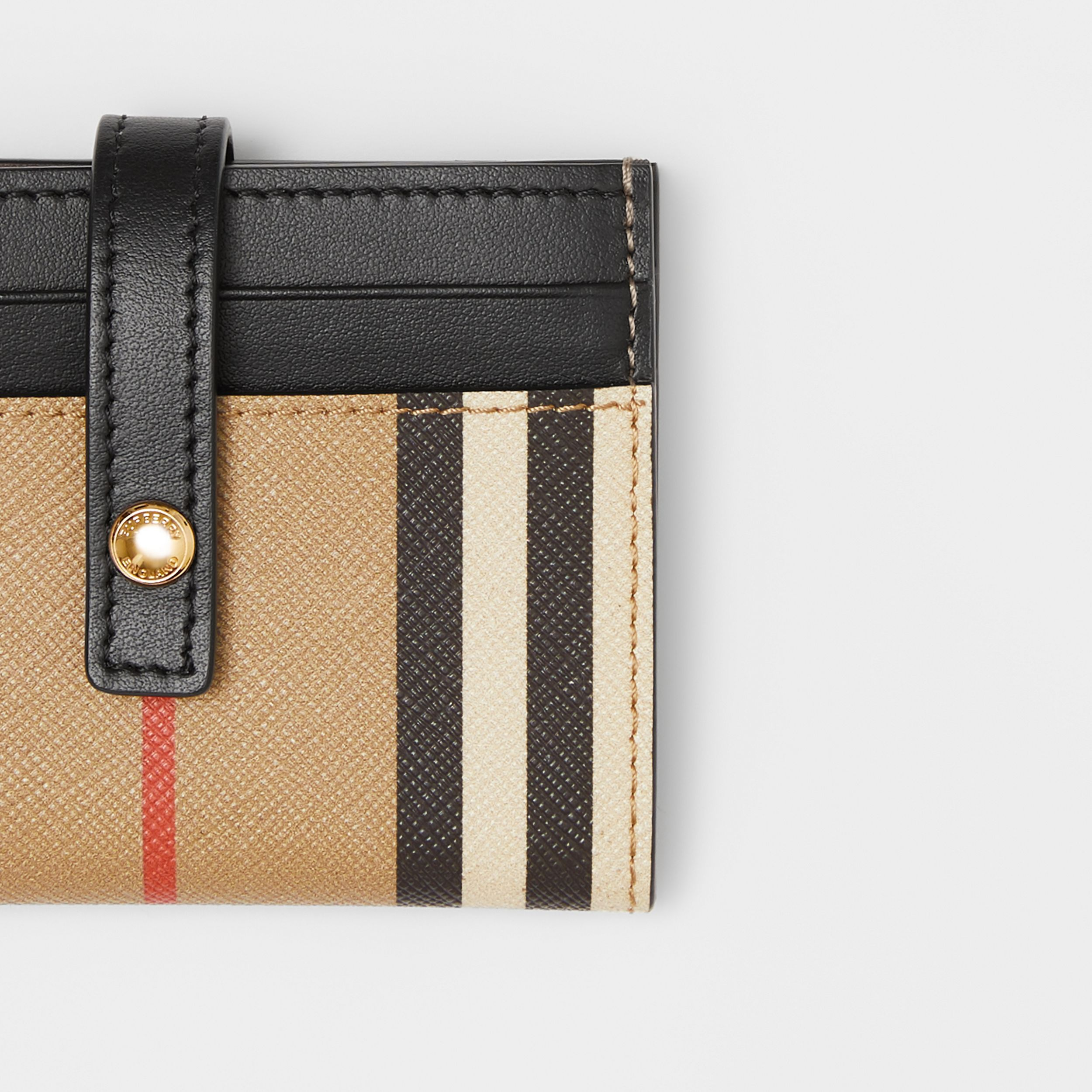 Icon Stripe E-canvas Folding Card Case in Archive Beige - Women | Burberry Singapore - 2