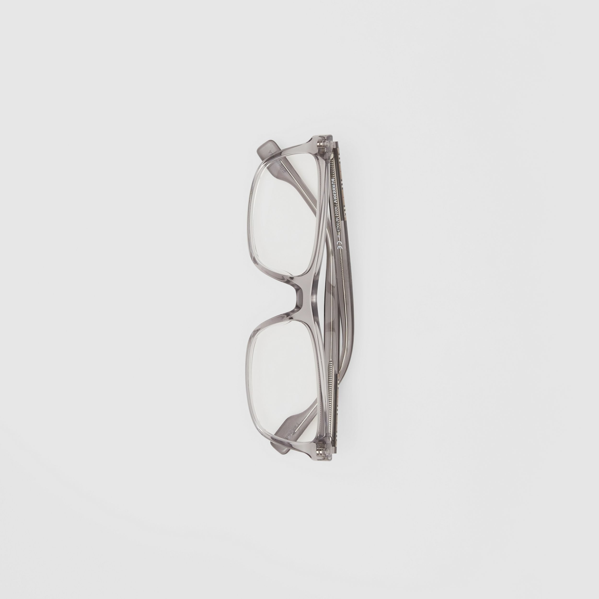 Icon Stripe Detail Rectangular Optical Frames in Grey - Men | Burberry - 4