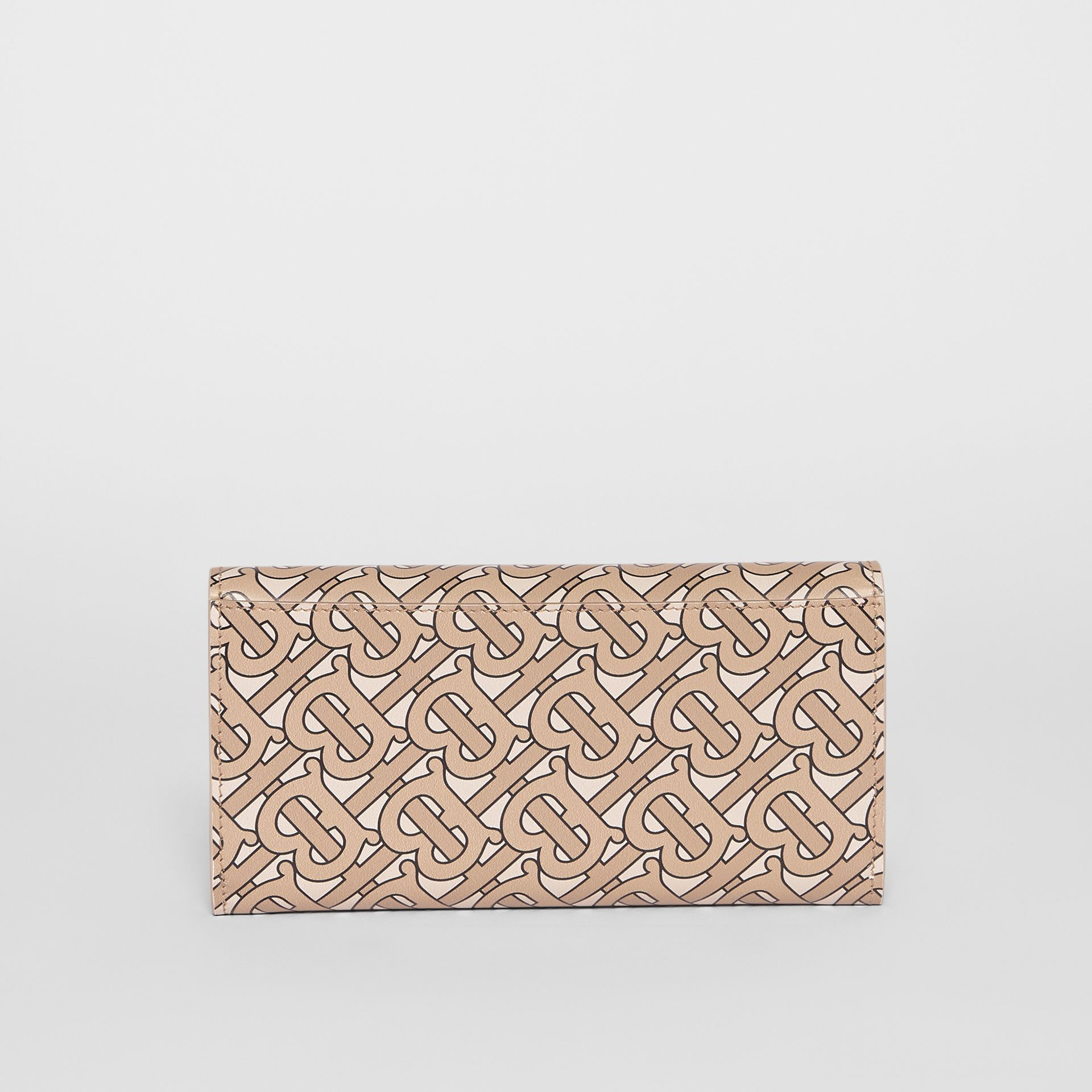 Monogram Print Leather Continental Wallet in Beige - Women | Burberry - gallery image 5