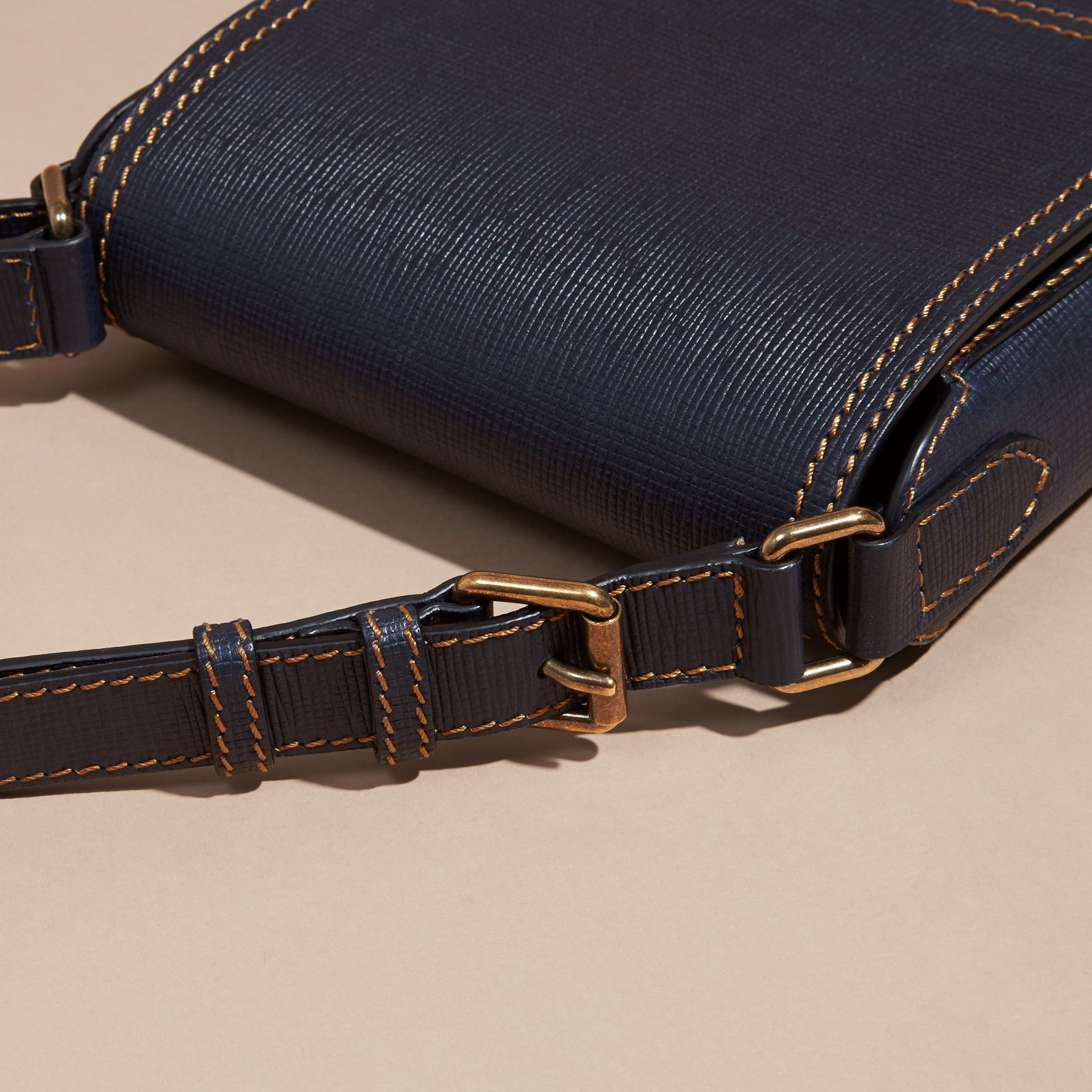 Dark navy The Small Satchel in Textured Leather - gallery image 6