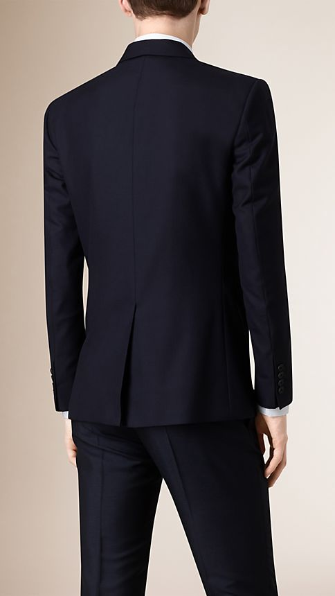 Navy Modern Fit Wool Part-canvas Jacket - Image 3