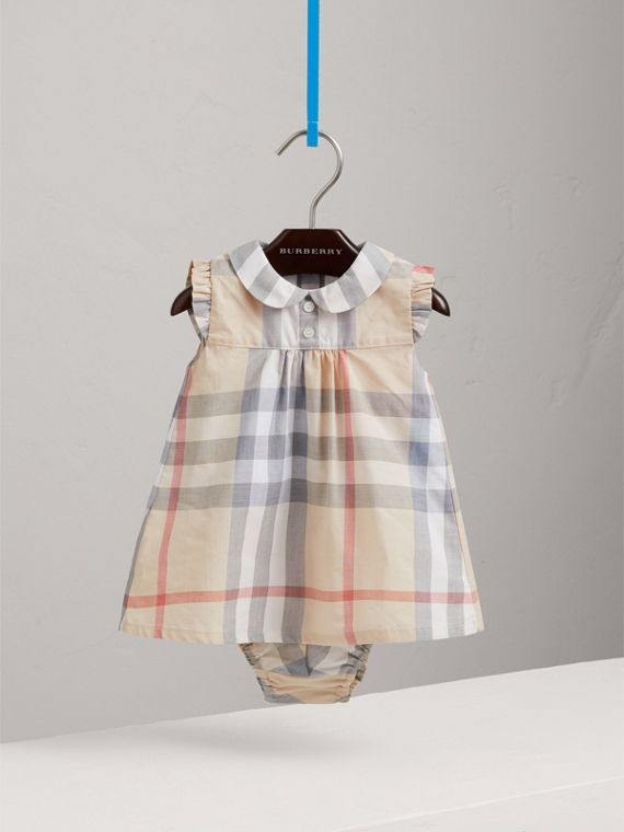 Washed Check Cotton Dress in Pale Classic - Girl | Burberry - cell image 2