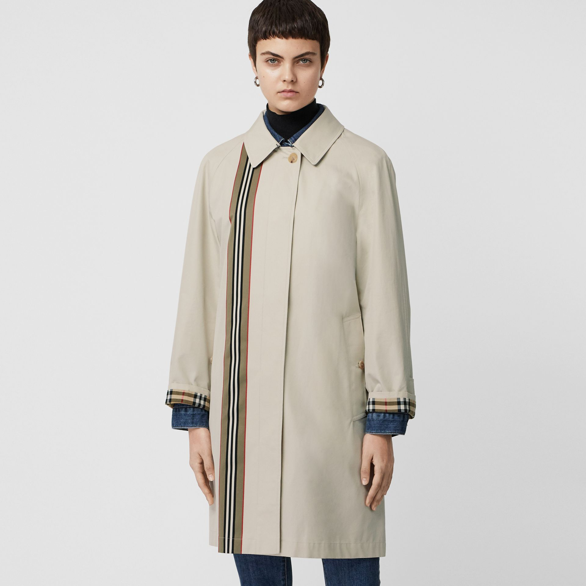 Striped Ribbon Cotton Gabardine Car Coat in Stone - Women | Burberry - gallery image 6