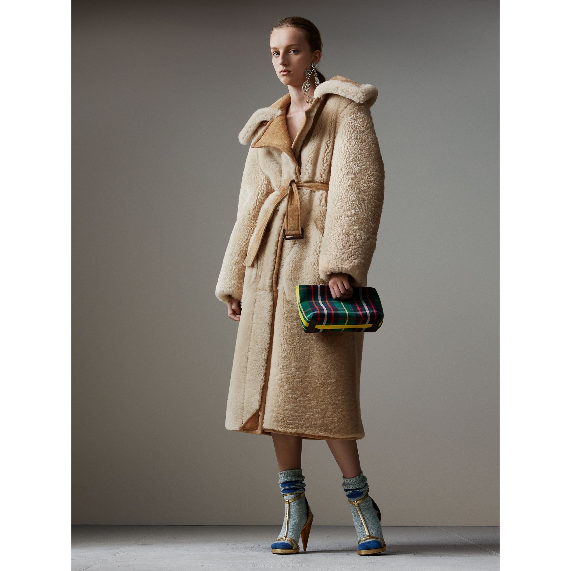 Shearling Oversized Belted Coat in Camel/off White - Women | Burberry Singapore - gallery image 1