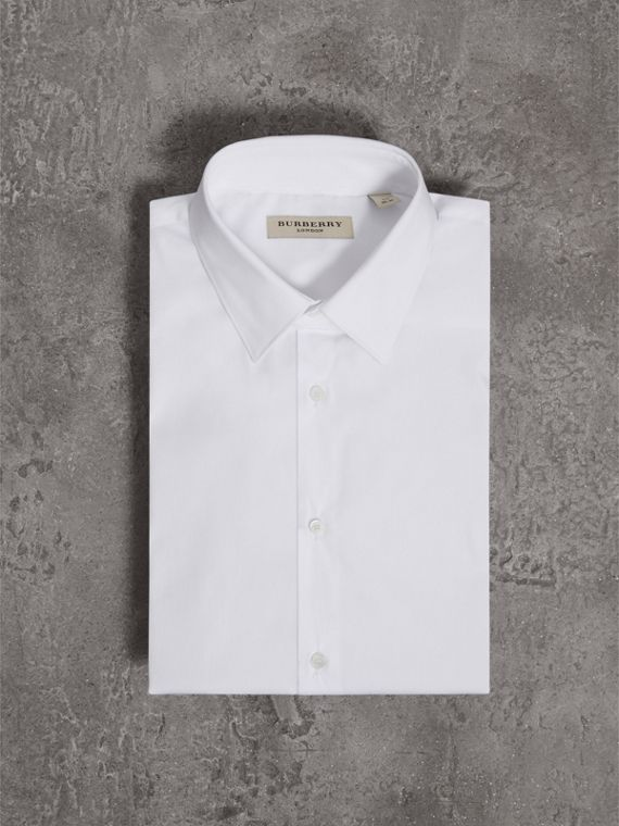 Slim Fit Short-sleeved Stretch Cotton Shirt in White - Men | Burberry - cell image 3
