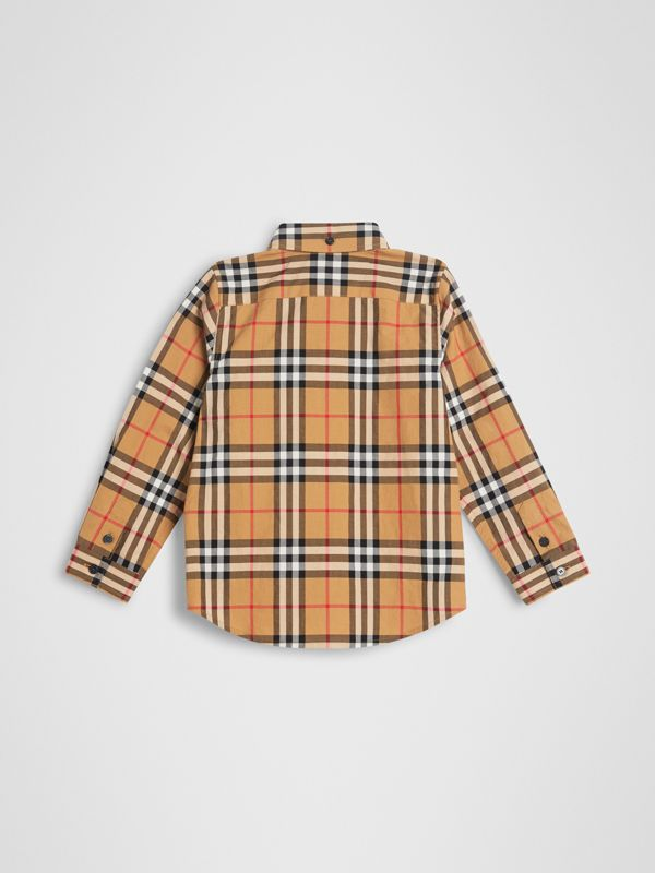 Camicia con motivo Vintage check e colletto button-down (Giallo Antico) | Burberry - cell image 3