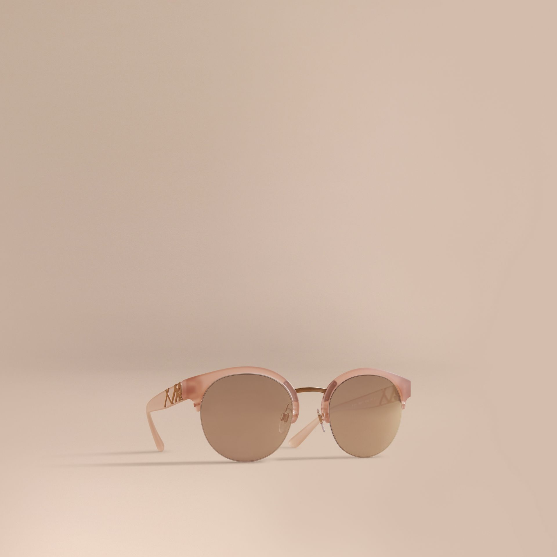 Check Detail Round Half-frame Sunglasses in Nude - Women | Burberry Singapore - gallery image 1