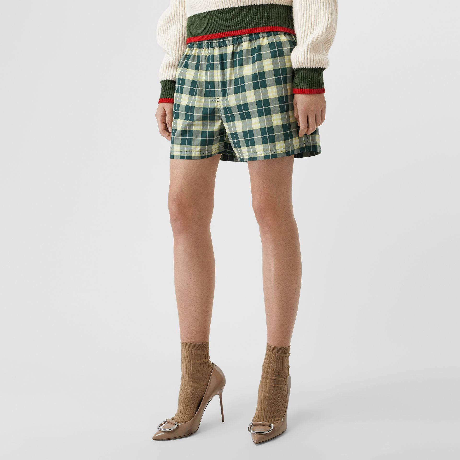 Check Cotton High-waisted Shorts in Dark Cedar - Women | Burberry - gallery image 4