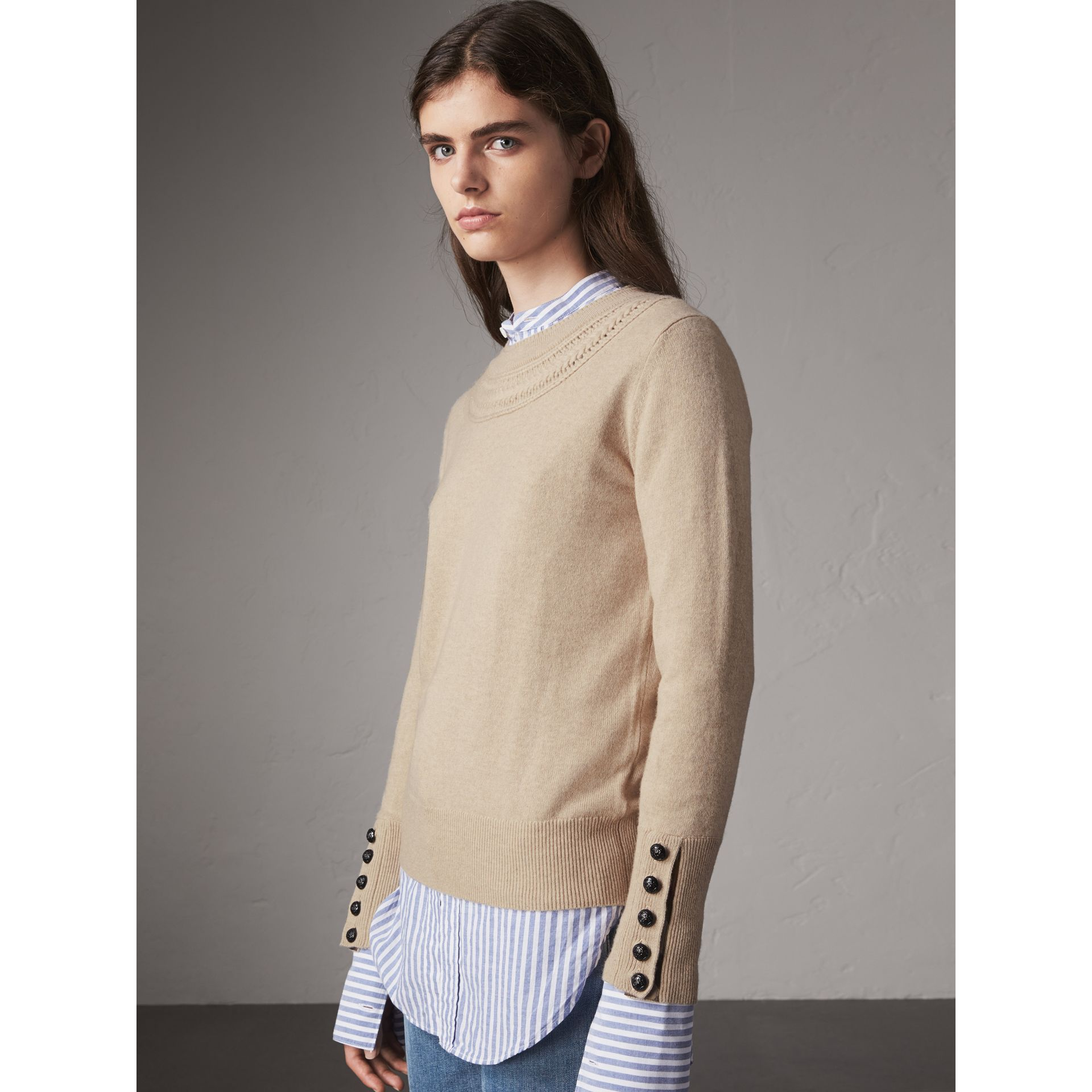 Cable Knit Yoke Cashmere Sweater in Taupe Melange - Women | Burberry - gallery image 1