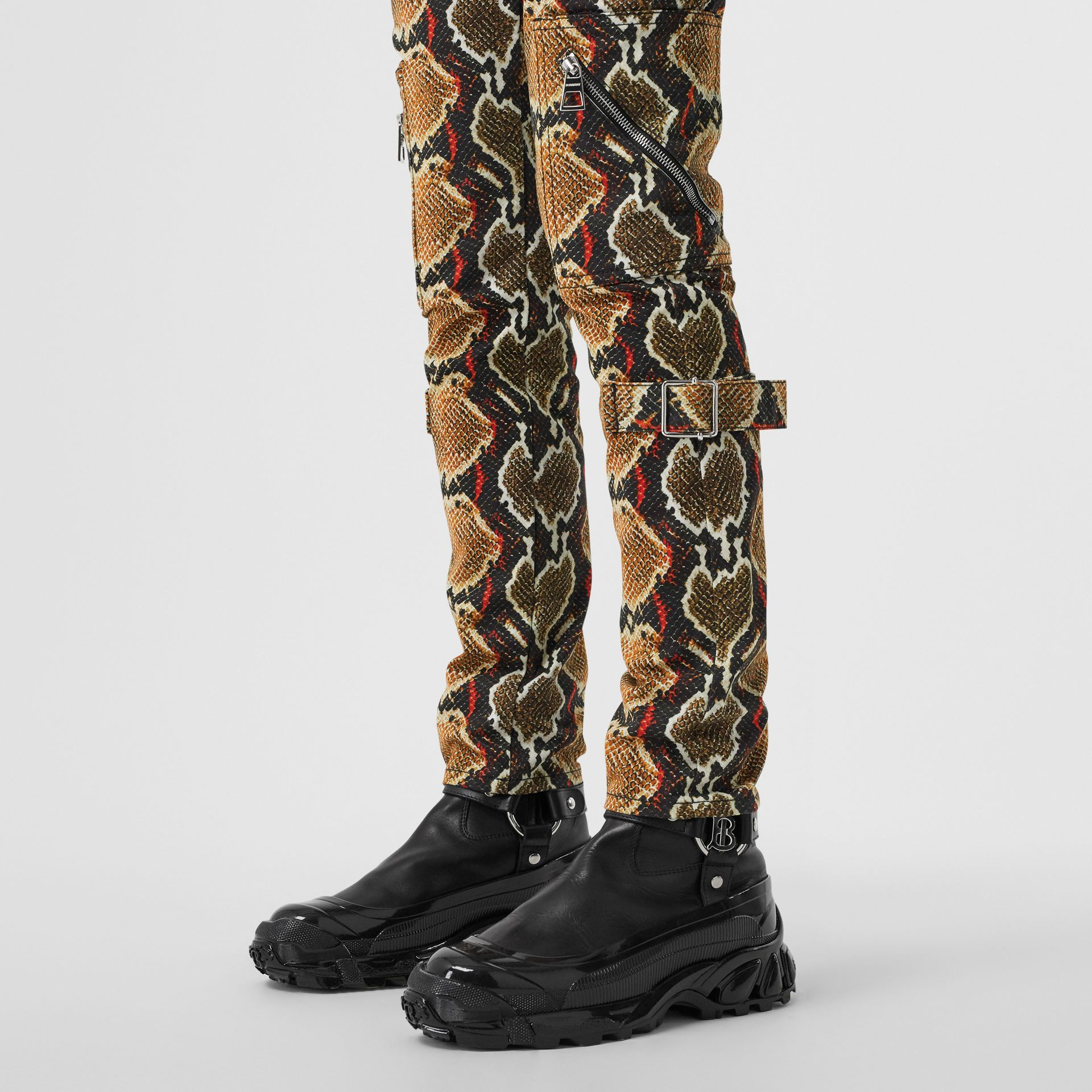 Skinny Fit Python Print Jeans in Soft Cocoa - Women | Burberry - gallery image 1