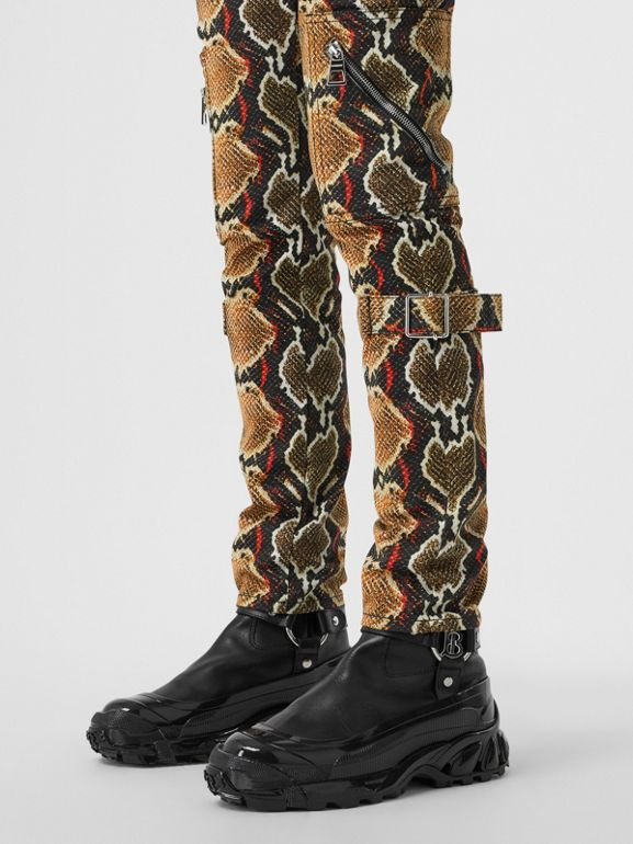 Skinny Fit Python Print Jeans in Soft Cocoa - Women | Burberry - cell image 1