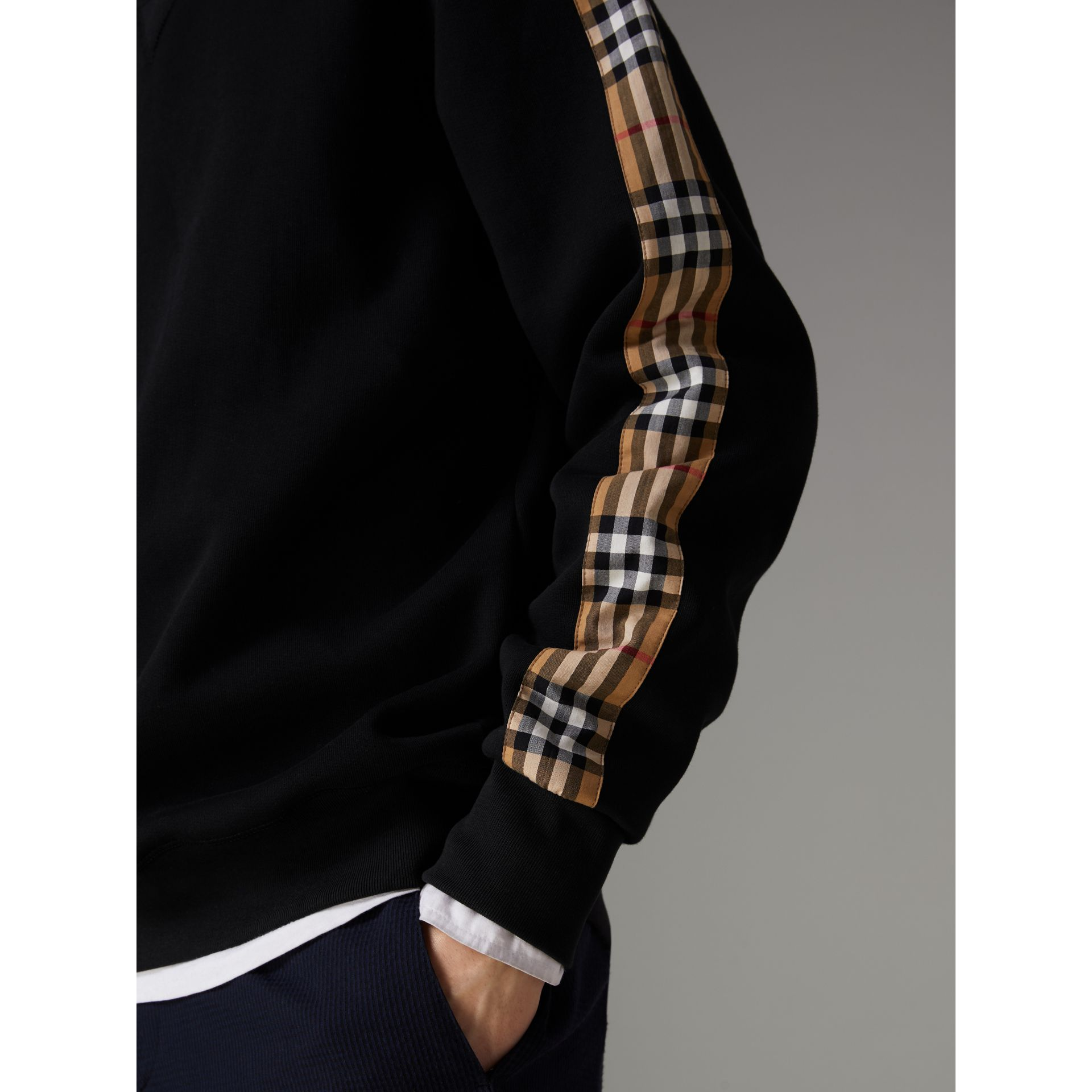 Vintage Check Detail Cotton Blend Sweatshirt in Black - Men | Burberry Hong Kong - gallery image 4