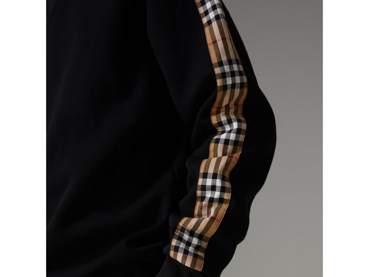 Vintage Check Detail Cotton Blend Sweatshirt in Black - Men | Burberry - cell image 4