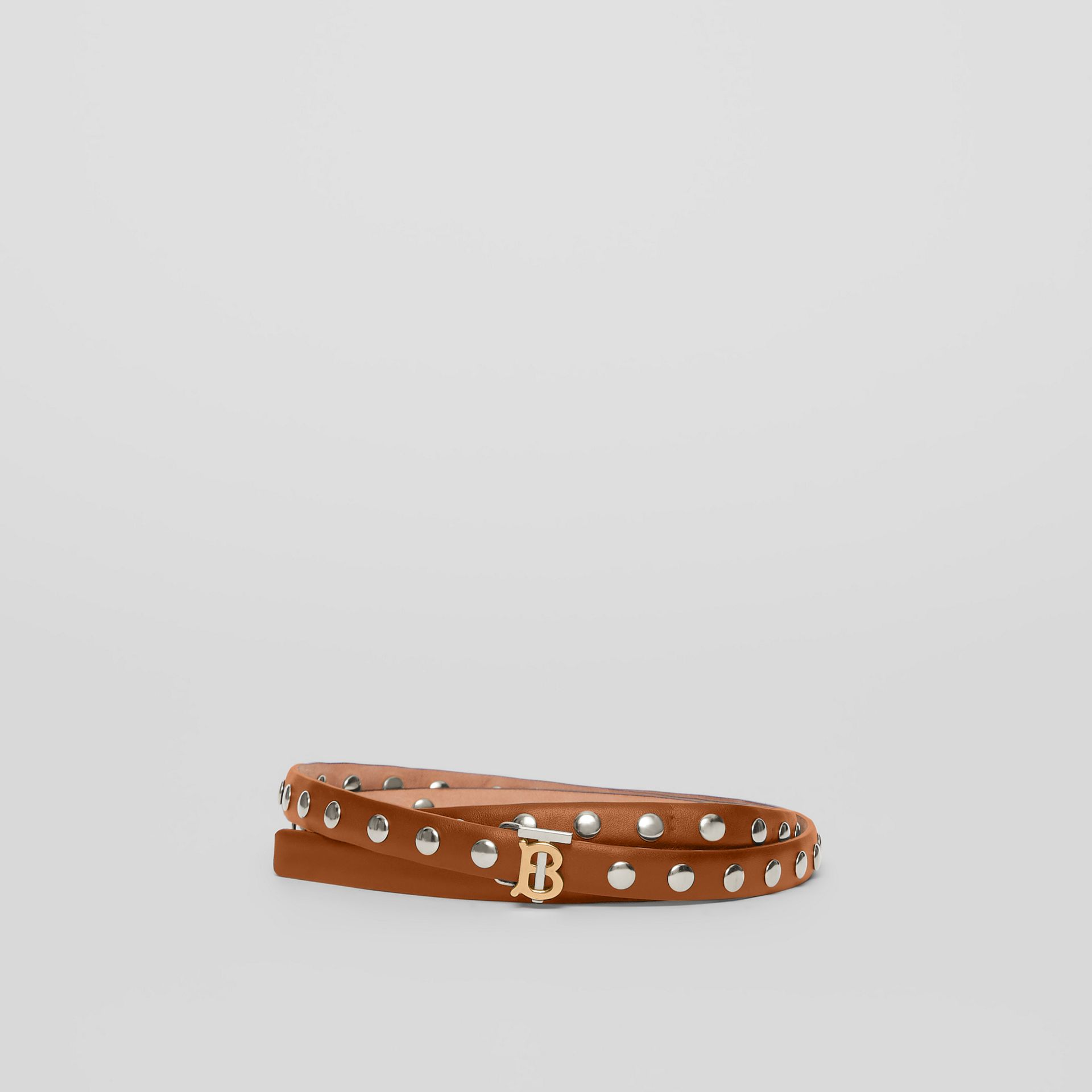 Monogram Motif Studded Leather Belt in Malt Brown/palladio - Women | Burberry - gallery image 0