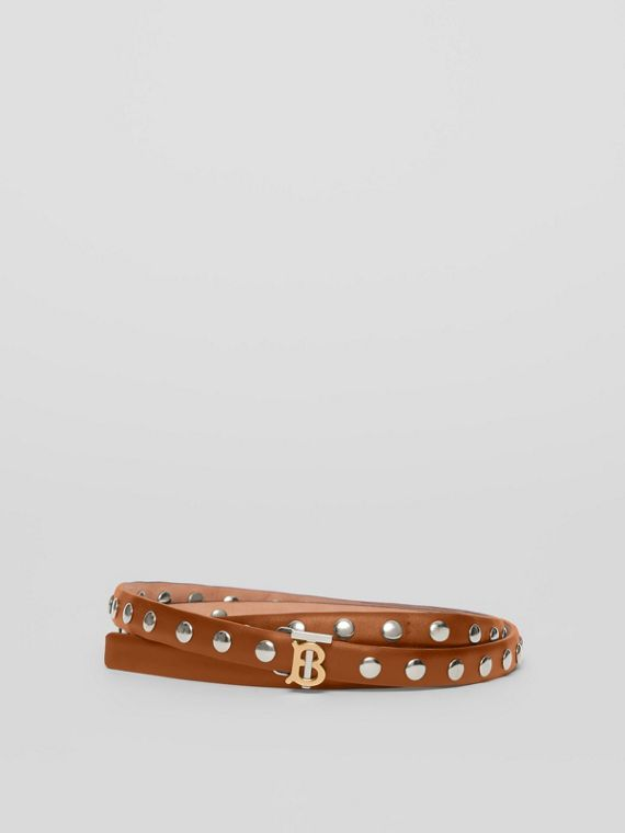 Monogram Motif Studded Leather Belt in Malt Brown/palladio