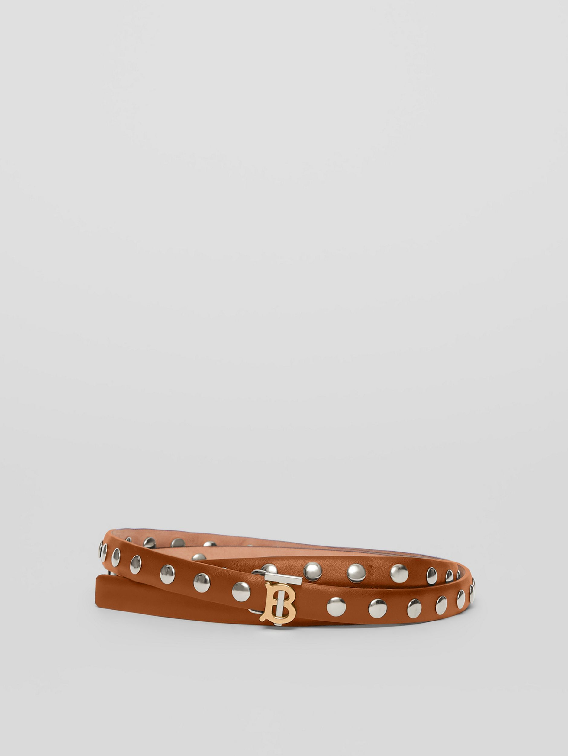 Monogram Motif Studded Leather Belt in Malt Brown/palladio - Women | Burberry - 1