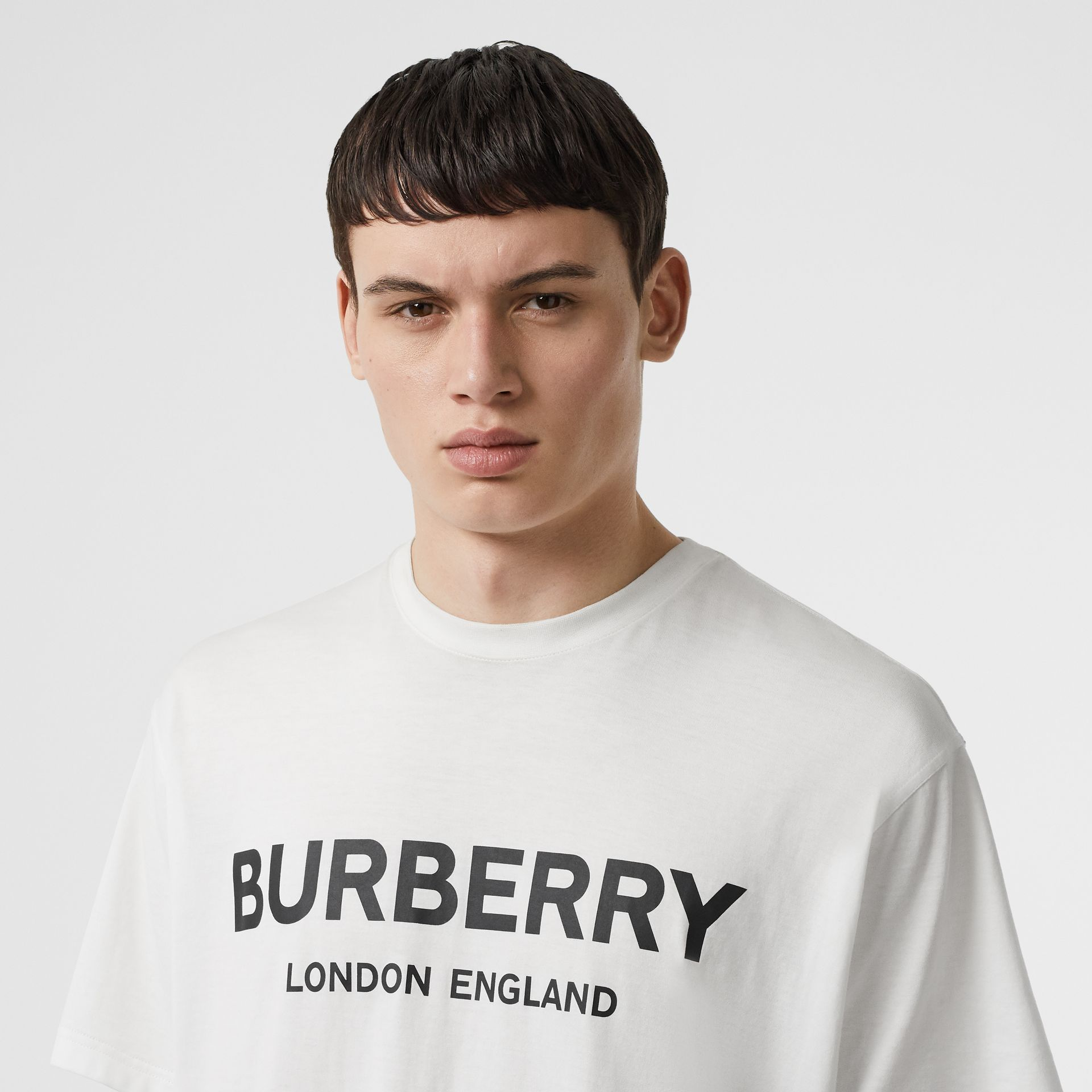 Logo Print Cotton T-shirt in White - Men | Burberry United Kingdom - gallery image 1