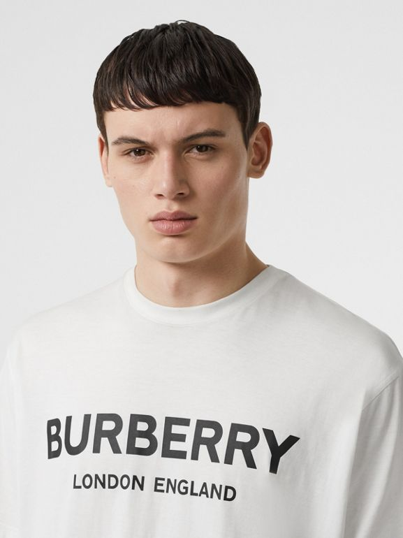 Logo Print Cotton T-shirt in White - Men | Burberry United States - cell image 1