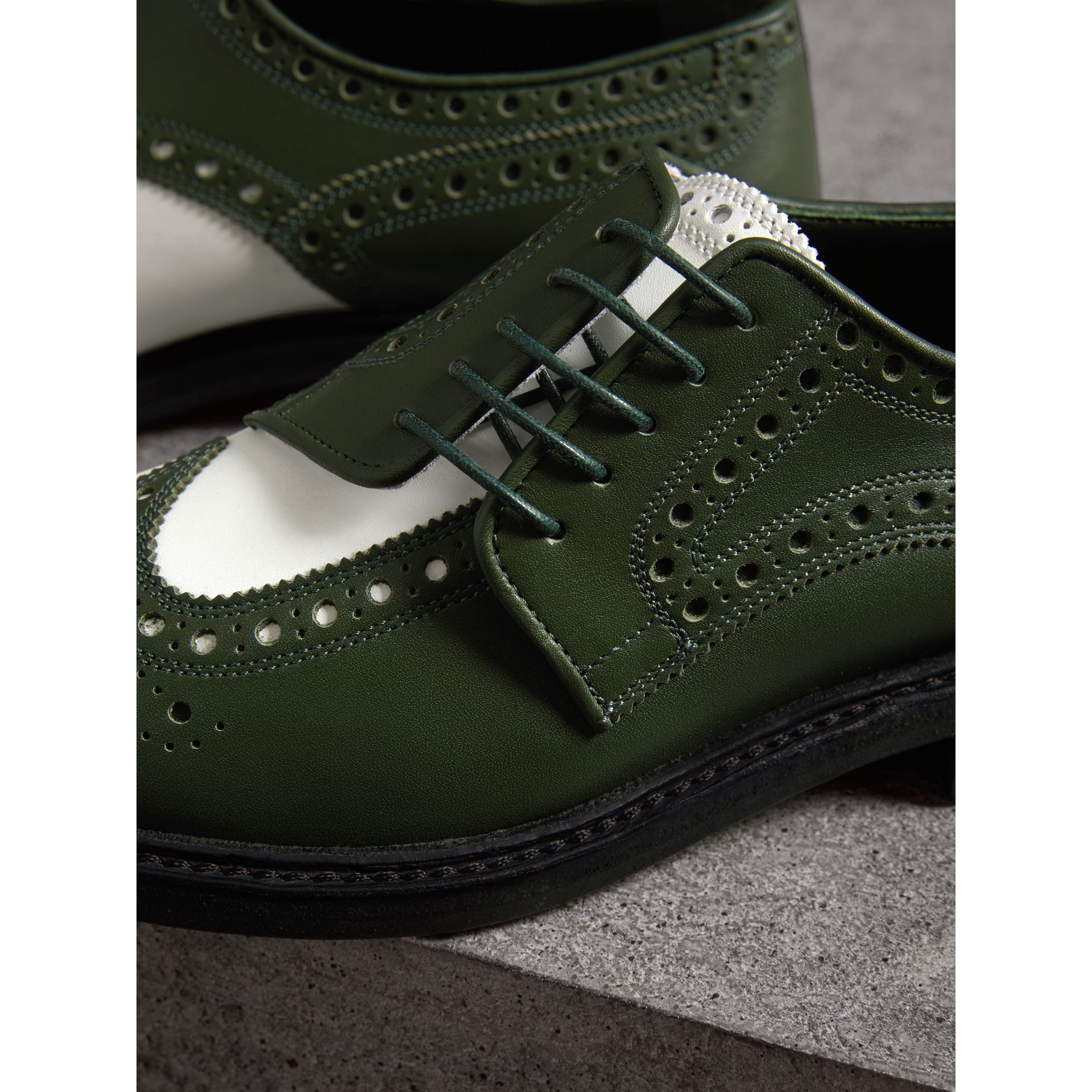 Two-tone Asymmetric Closure Leather Brogues in Dark Green - Women | Burberry - gallery image 1