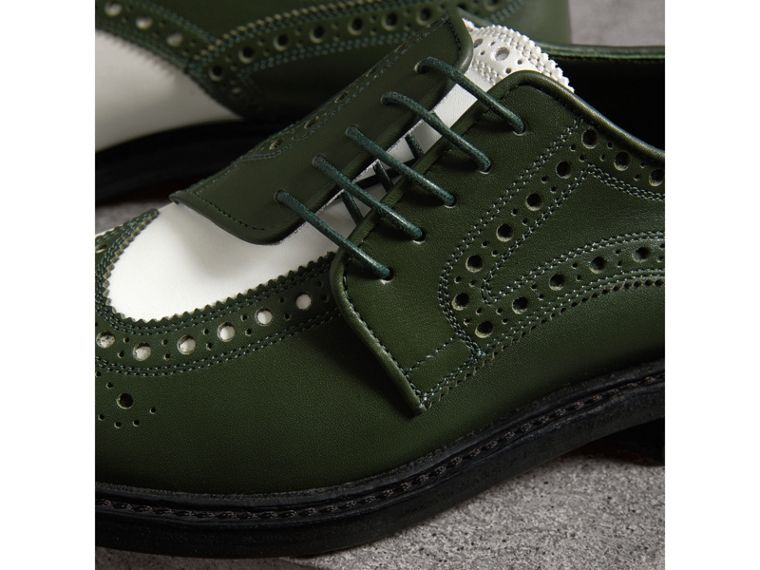 Two-tone Asymmetric Closure Leather Brogues in Dark Green - Women | Burberry Singapore - cell image 1