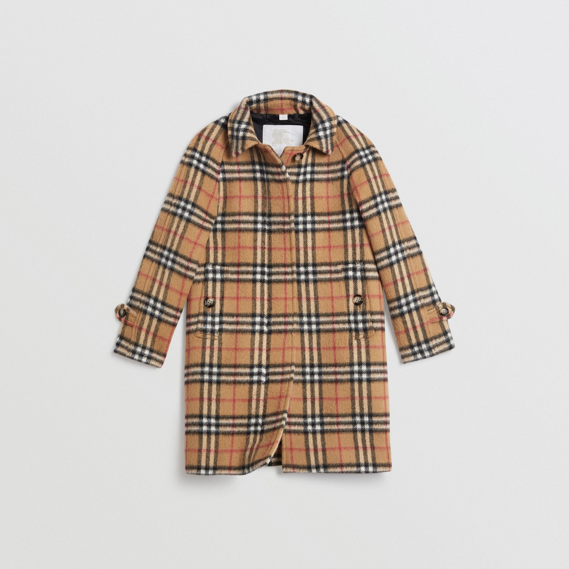 Vintage Check Alpaca Wool Blend Car Coat in Antique Yellow | Burberry - gallery image 0
