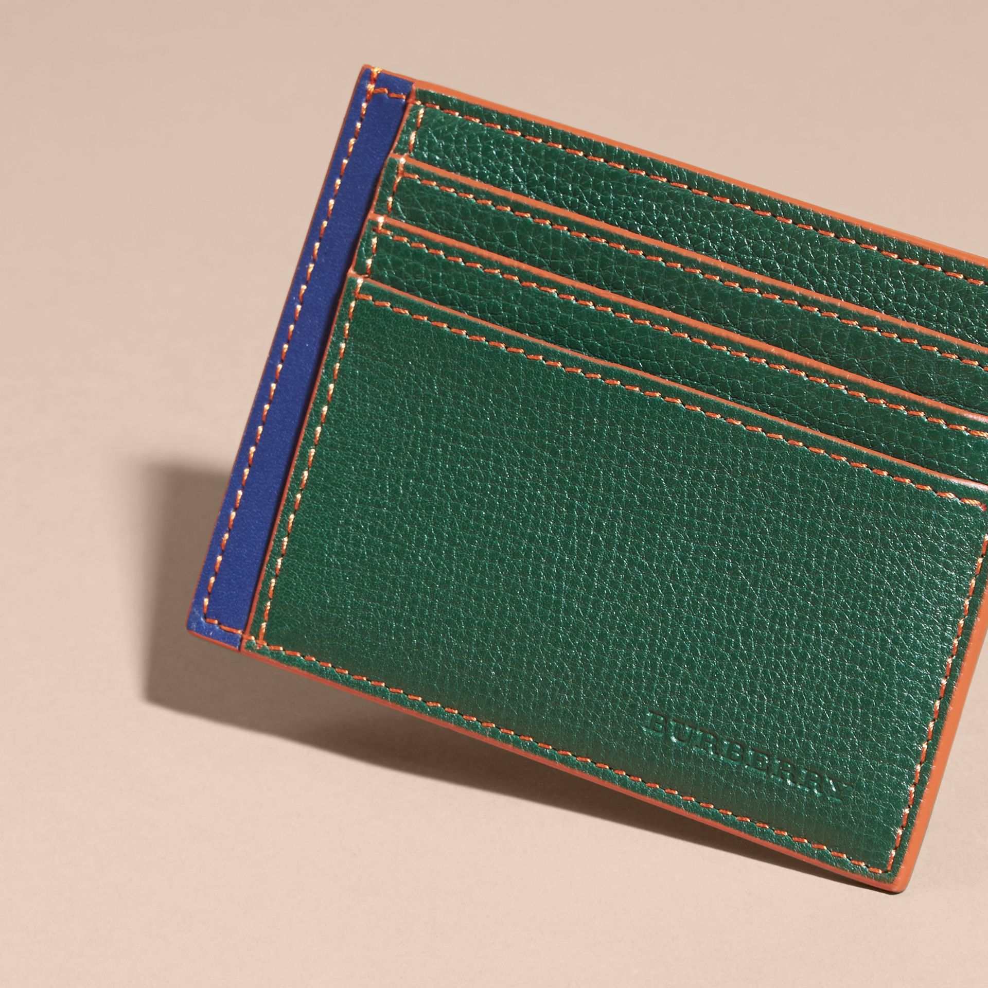 Colour Block Leather Card Case Sea Green - gallery image 3