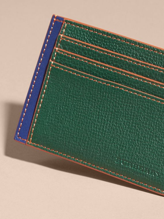 Colour Block Leather Card Case in Sea Green - cell image 2