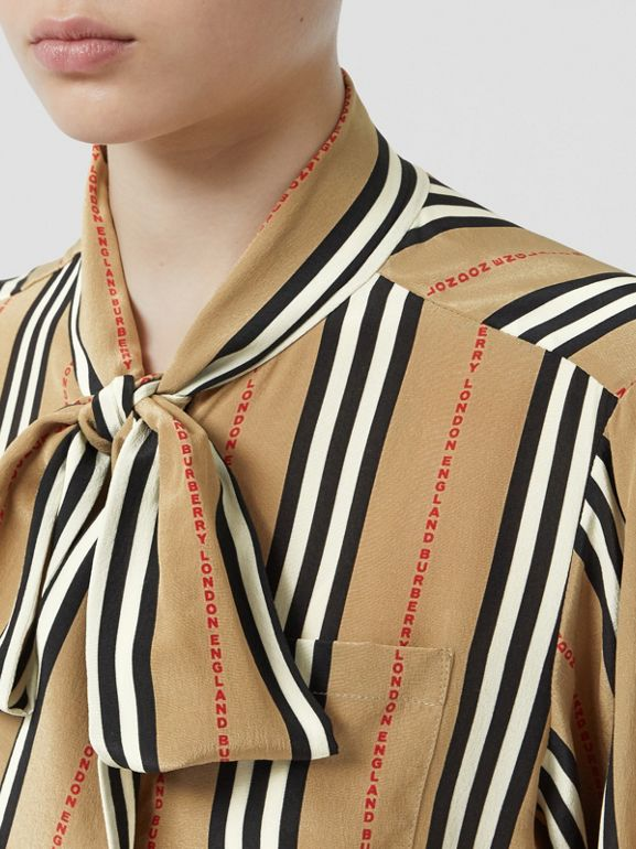Logo Print Icon Stripe Silk Chiffon Pussy-bow Blouse in Archive Beige - Women | Burberry - cell image 1
