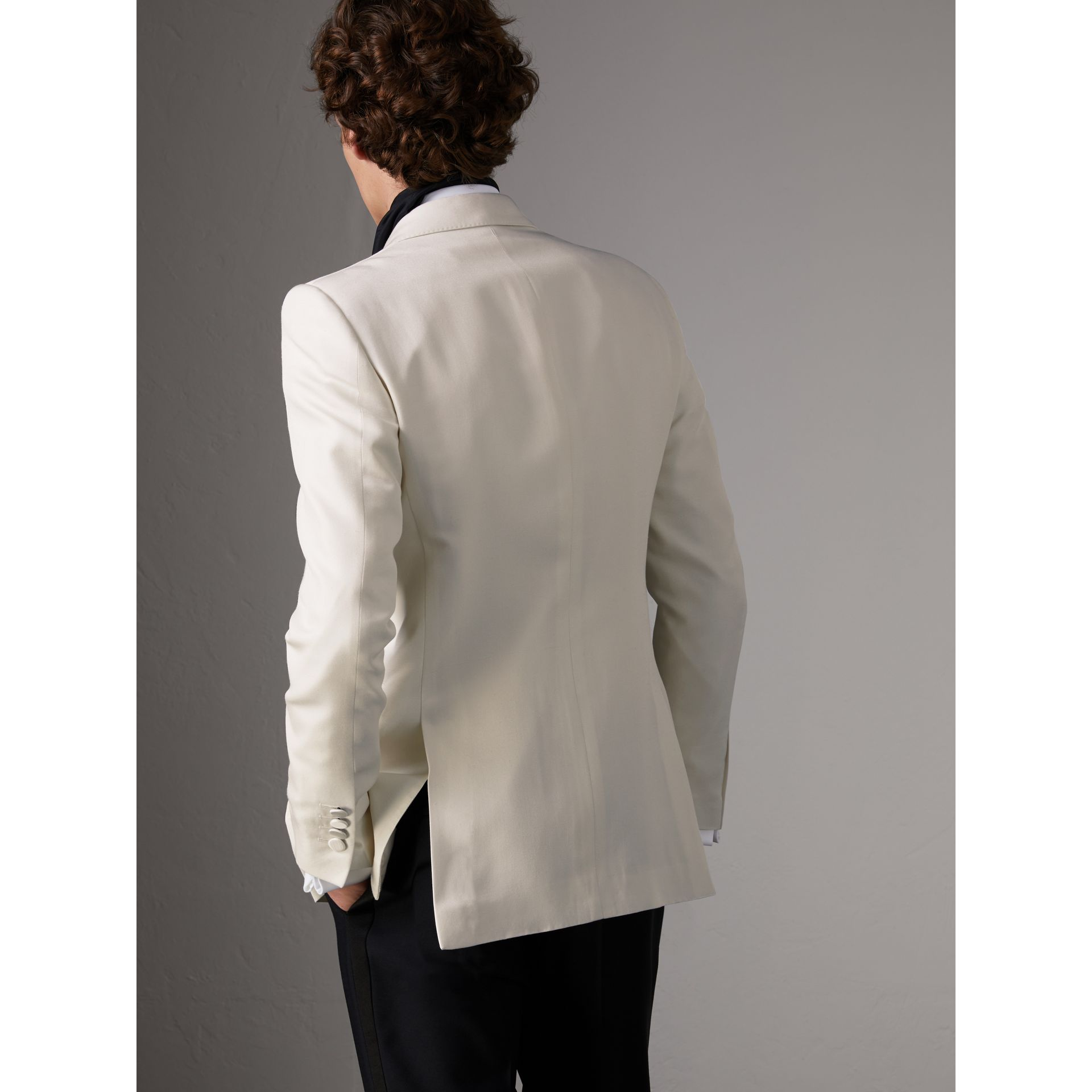 Slim Fit Silk Evening Jacket in Off White - Men | Burberry United Kingdom - gallery image 2